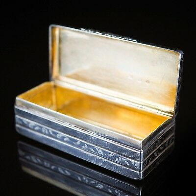 Imperial Russian Niello Silver and Gold Snuff Box 1842 - (Large 115g)