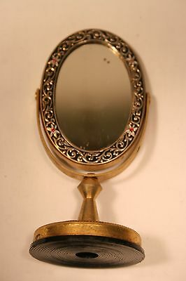 Dollhouse Miniature Furniture Standing Metal Dressing Mirror Flowers And Birds
