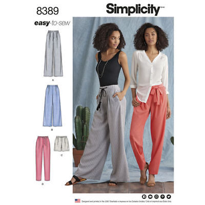 Simplicity Sewing Pattern 8389 Misses 6-14 Easy Pull on Pants or Shorts and Belt