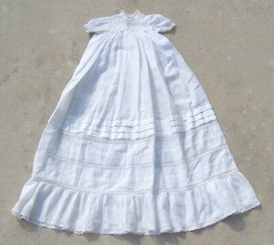 """Vtg Antique Victorian White Baby Christening Gown Dress Embroidery Lace 34"""" Long"""