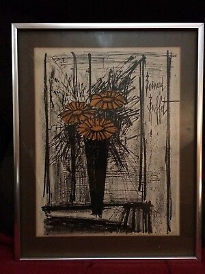 Fabulous Vintage Original Framed Lithograph Print Flower By Bernard Buffet Signed Download Free Architecture Designs Lectubocepmadebymaigaardcom