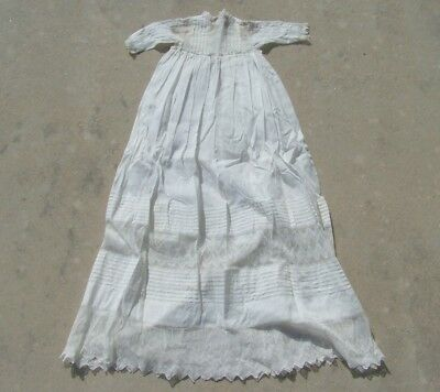 """Vintage Antique Victorian Off White Baby Christening Gown Dress W Lace 44"""" Long"""