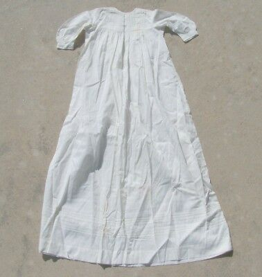 """Vintage Antique Victorian Ivory Baby Christening Gown Dress Embroidery 36"""" Long"""