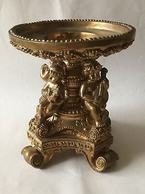 A Vintage Resin Or Wooden Gilded Plinth Tazza Platform With Cherub Decoration