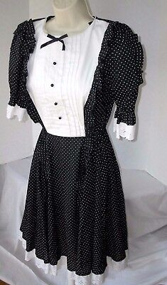 Jeri Bee Square Dance Dress Black White Polka Dot Tuxedo Front Lace Size 12 vtg