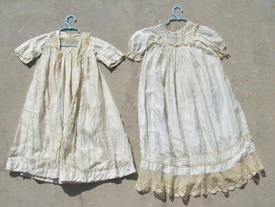 """Vtg Antique Victorian Ivory Baby Christening Gown W Coat/Robe/Jacket 35"""" Long"""