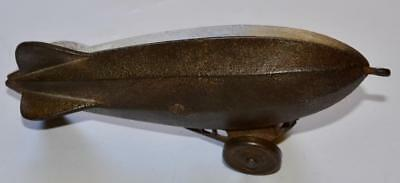 Vintage Cast Iron Zeppelin ~ Antique Pull Toy 1930's ~ Nice