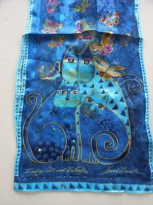 Laurel Burch Indigo Cats & Butterflies Silk Scarf