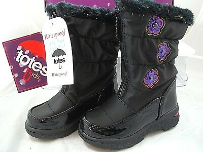 TOTES BOOTS WINTER KIDS THERMOLITE Waterproof Toddler GirlS 7 BLACK ZIP NEW TAGS