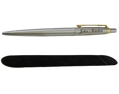 Personalised Engraved Parker Jotter Ballpoint Pen Gold Trim With Velvet Pouch