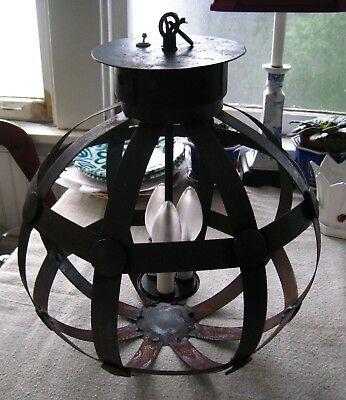 """Vintage Wrought Iron Chandelier Hanging Lantern ~ LARGE.  Sold """"As Is"""""""