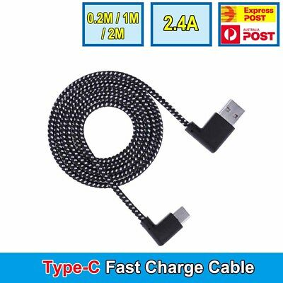 Type-C Nylon Braided 90 Degree Right Angle USB Fast Charger Data Sync Cable Cord