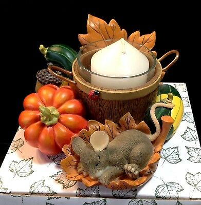 Rare Charming Tails Pumpkin Harvest Votive Candle Holder Thanksgiving Fall 93/11