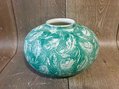 Vintage Mid Century West German Pottery Large Round Green White Leaf Vase 69018