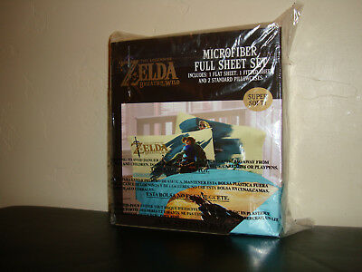 NEW The Legend Of Zelda Breath Of The Wild Full Sheet Set with 2 Pillowcases