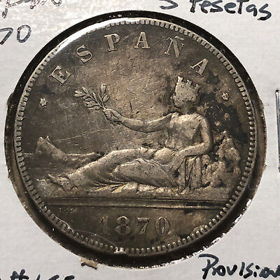 1870 Spain Provisional Government, Crown 5 Pesetas Silver Coin