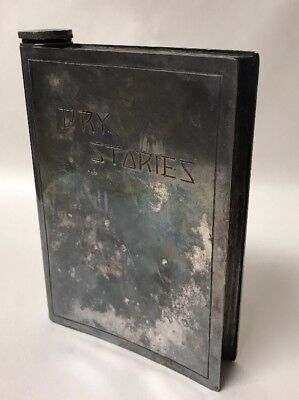 Unusual Antique Silverplate Figural Hip Flask / Decanter Shaped like a Book