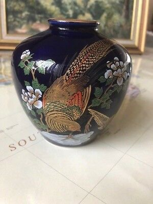 Oriental Vintage Royal Blue Peacock Bird Japanese Vase