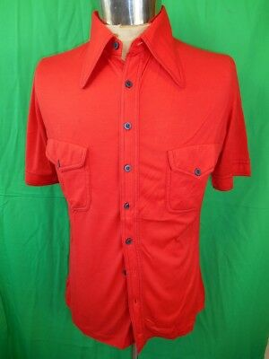 Vintage 1970s Bright Red Topaz Poly/Cotton Short Sleeve Body Shirt Disco Party M