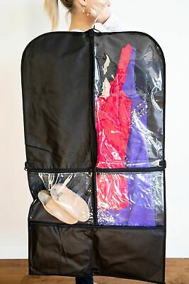 GARMENT BAG FOR DANCE COSTUME & STORAGE - TWIN PACK  - Black/Clear with Pockets