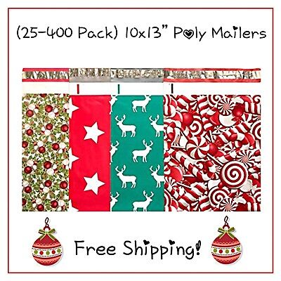 """25-400 Pack - 10x13"""" Holiday Variety Designer Poly Mailers! **FREE SHIPPING!**"""