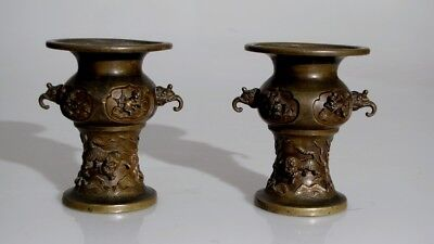 Chinese Pair Of Superb Cast Bronze Tiger Vases Signed Old