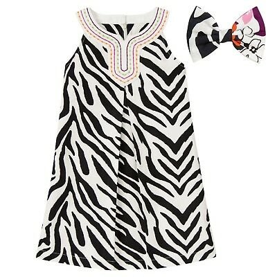 Gymboree Size 4 Girl's Wild For Zebra A-Line Dress Matching Hair Bow Clip BNWT
