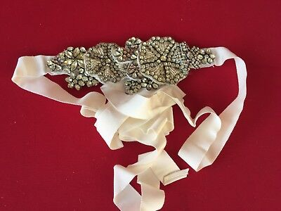 Vera Wang Ivory Bridal Grosgrain Sash -- Like New -- One Size Fits All