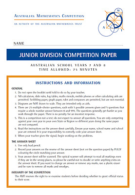 Australian mathematics competition past papers AMC AMT Junior 2018 (Years 7 & 8)