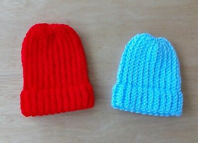 Baby Boys Hand Knitted Hats premature /newborn (pack of two)