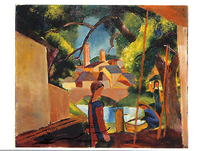 Kunstpostkarte  -  August Macke: Kinder am Brunnen mit Stadt