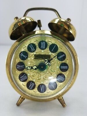 Jerger Twin Bell Alarm Clock Glow-In-The-Dark Hands Gold Tone Filigree Germany