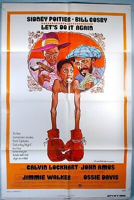 1975 Sidney Poitier Bill Cosby Let's Do It Again Orig. One Sheet Movie Poster