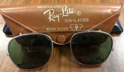 827bf52c27 VINTAGE RAY-BAN BAUSCH   Lomb Clip On Sunglasses with Original Case ...
