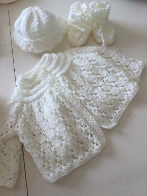Hand Knitted Ivory Girls Matinee Set- Jacket< Bonnet & Booties 0-3Months