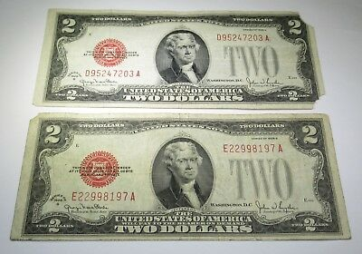 Lot of 2 1928 Two Dollar Bills US Paper Note Money Antique Currency Old Red Seal