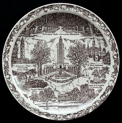 STATE OF LOUISIANA Vintage VERNON KILNS POTTERY China SOUVENIR PLATE