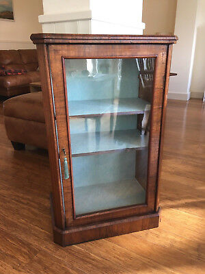 Antique Victorian Walnut Music Cabinet, Small Glazed Bookcase or Display Case.