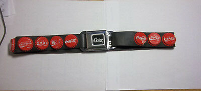 """Coca Cola """"Around the World"""" Bottle Cap Belt, Black, Red and Silver"""