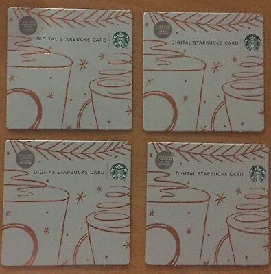 """Lot 4 Starbucks """"DIGITAL"""" CHRISTMAS 2018 (Recycled Paper)gift card set NEW!"""
