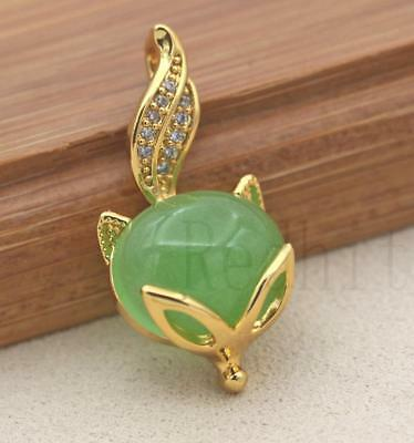 18K Gold Filled - Big Oval Jade Zircon Fox Head Swil Tail Lady Gems Pendant Gift