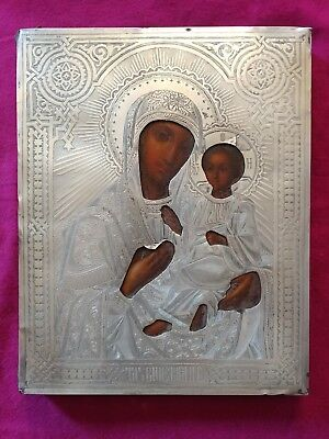 Antique 1893 Hand Painted Russian Icon Tikhviskaya Mother Of God 84 Silver