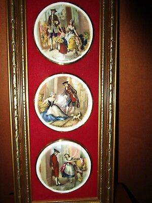 Vintage Set Of 3 Staffordshire Mini Plates  Matted And Framed Cries Of London En