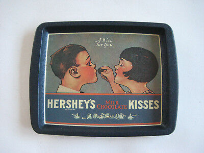 Vintage (1982) Hershey's Milk Chocolate Kisses metal tray, A Kiss for You