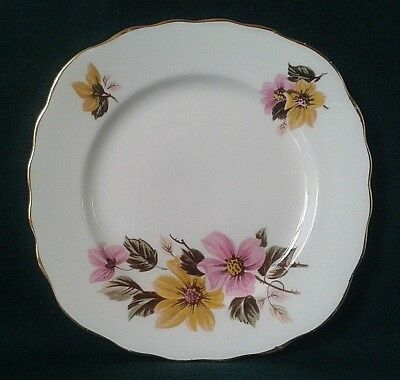 Royal Vale Side Plate Fine Bone China Sideplate Pink Yellow Flowers Green Leaves
