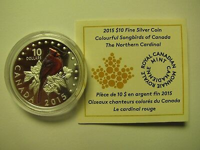 2015 Proof $10 Colourful Songbirds #1-Northern Cardinal COIN&COA ONLY Canada .99