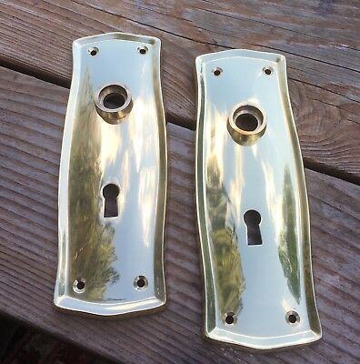 "Pair Solid Brass ""Prairie Style"" Door backplates Antique Reproduction"