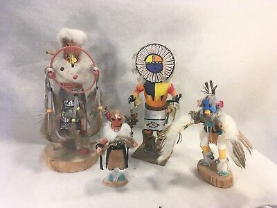 Vintage Native American Kachina Doll Lot (4) Sun Fox Dream Catcher Eagle