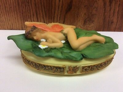 Fairy, Sleeping on a GREEN Leaf ~ Stach Trinket Box ~ figurine statue