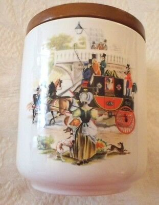 Vtg Tobacco Jar Humidor Whitecross Italy Victorian Stage Coach Carriage Design